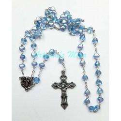 Rosario vidrio corazones Azul